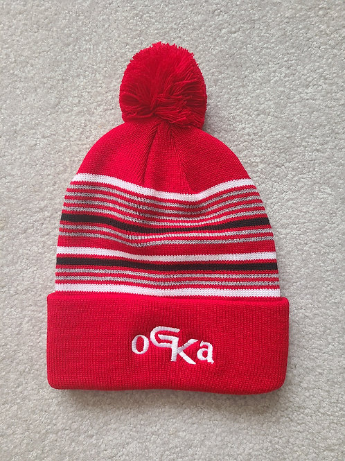 Embroidered Beanie with Pom