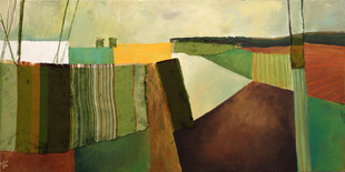 צורות גיאומטריות בשדות של צבע ובד