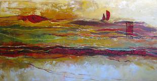 סירה רקומה במדבר של חול