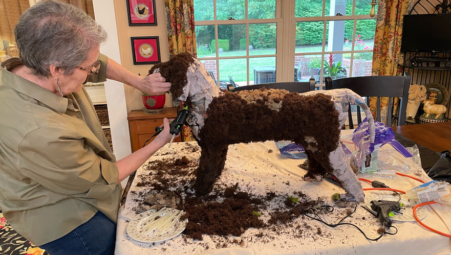 Snuffy the dog will be the first pet to break-in our snuffle garden display.