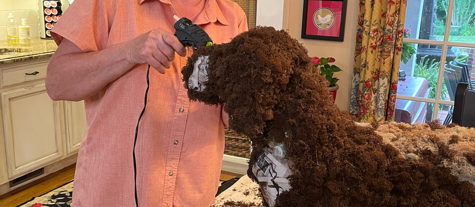 It takes a lot of skill and a lot of moss to make an entire dog, but Snuffy looks great!