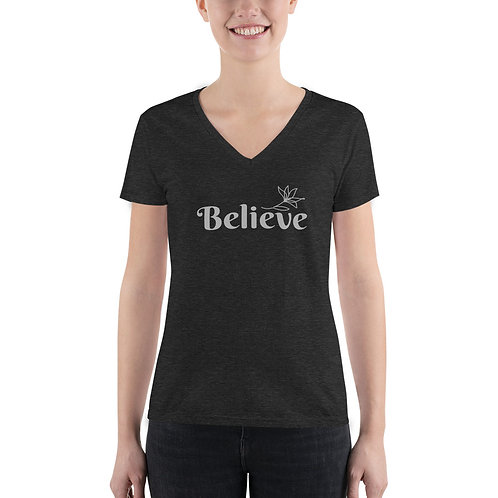 Believe – Women's Fashion Deep V-neck Tee