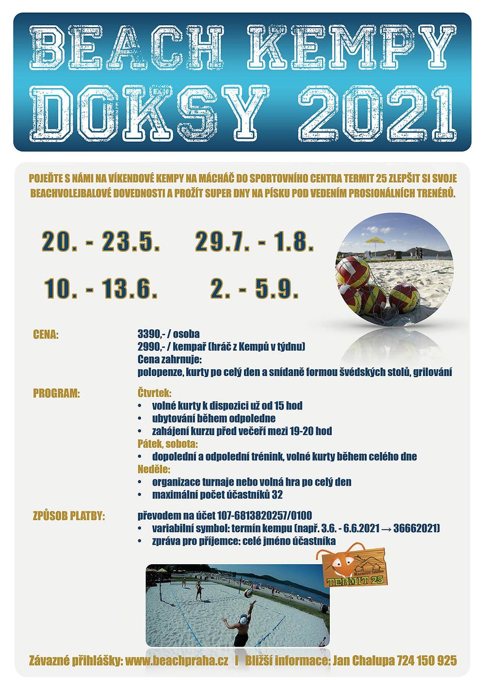 Kempy Doksy dospělí 2021   Beachclub Strahov