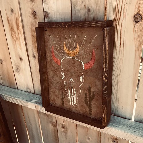 Hand Stitched Skull on Leather