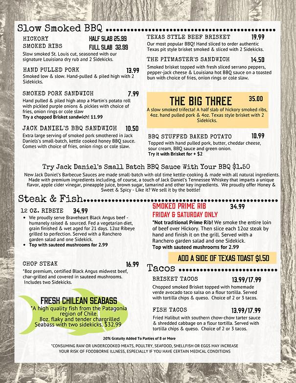Timberloft Menu Page 2