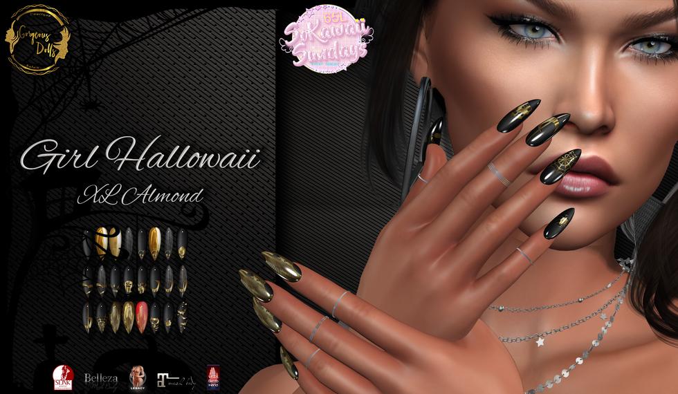Gorgeous Dolls - Girl Hallowaii XL Almond Nails