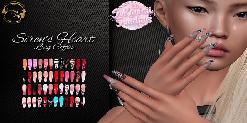 Gorgeous Dolls Siren's Heart Nails
