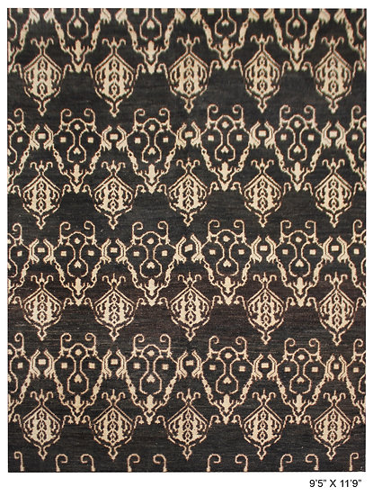 "Hand Knotted Ikat Rug - 9'5"" x 11'9"""