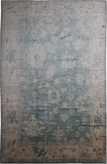 "Hand Knotted Oushak Rug - 13'8"" X 9'5"""