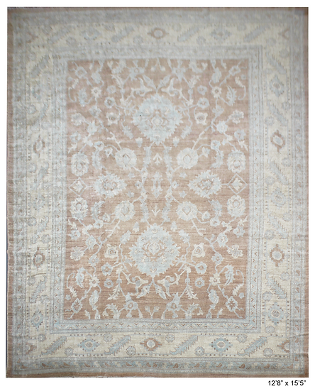 """Hand Knotted Fine Oushak Rug  - 12'8"""" X 15'5"""""""