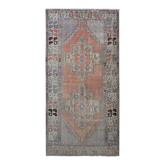 1940s Vintage Hand-Knotted Distressed Oushak Rug - 4′ × 8′9″