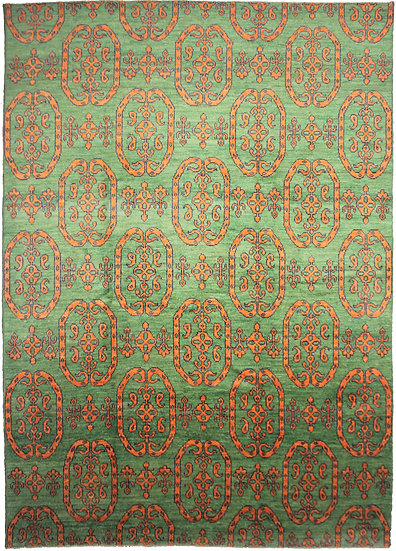 Hand Knotted Ikat Rug - 10′3″ × 14′6″