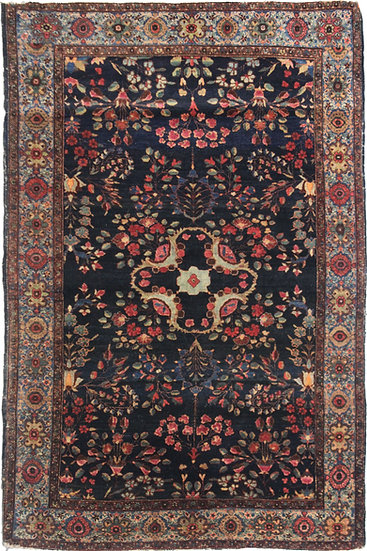 """Hand Knotted Antique Saruk Farhan Rug - 6'7"""" X 4'5"""""""