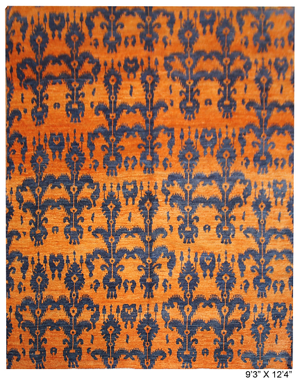 """Hand Knotted Ikat Rug - 9'3"""" X 12'4"""""""