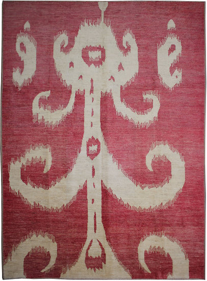 Hand Knotted Ikat Rug - 10′7″ × 14′1″