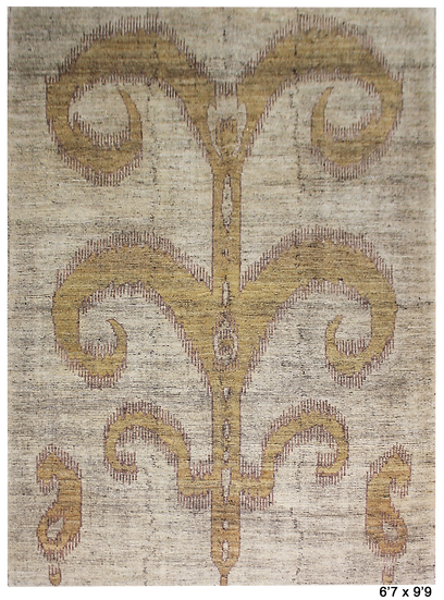 "Hand Knotted Ikat Rug - 6'7"" x 9'9"""