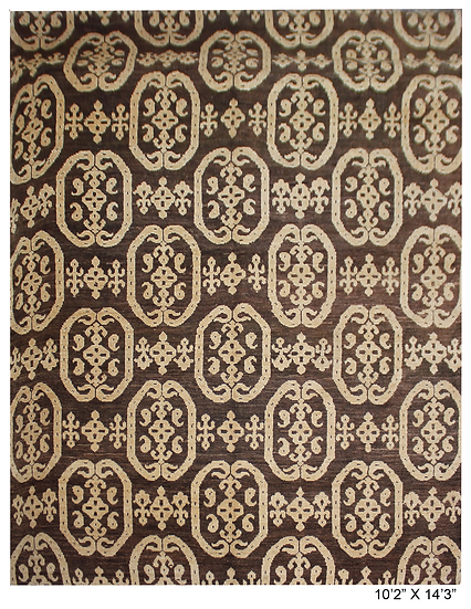 """Hand Knotted Ikat Rug - 10'2"""" x 14'3"""""""