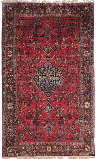 Antique Muhtasham Kashan Silk Rug - 4′4″ × 6′9″