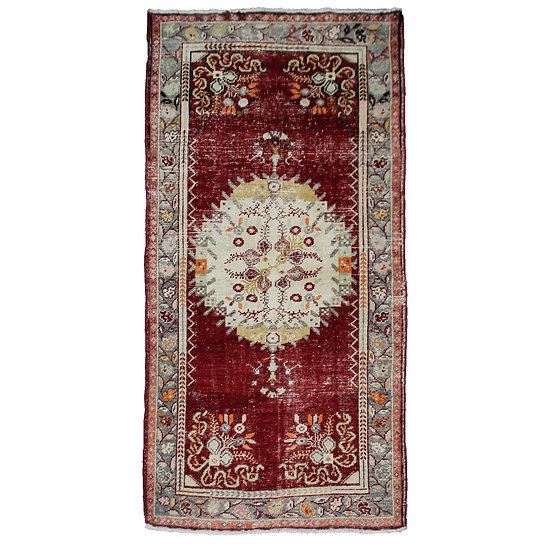 "1940s Vintage Hand-Knotted Distressed Oushak Rug - 3′3"" × 6′6"""