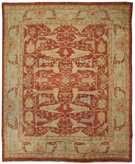 Hand Knotted Oushak Rug- 10′4″ × 13′8″
