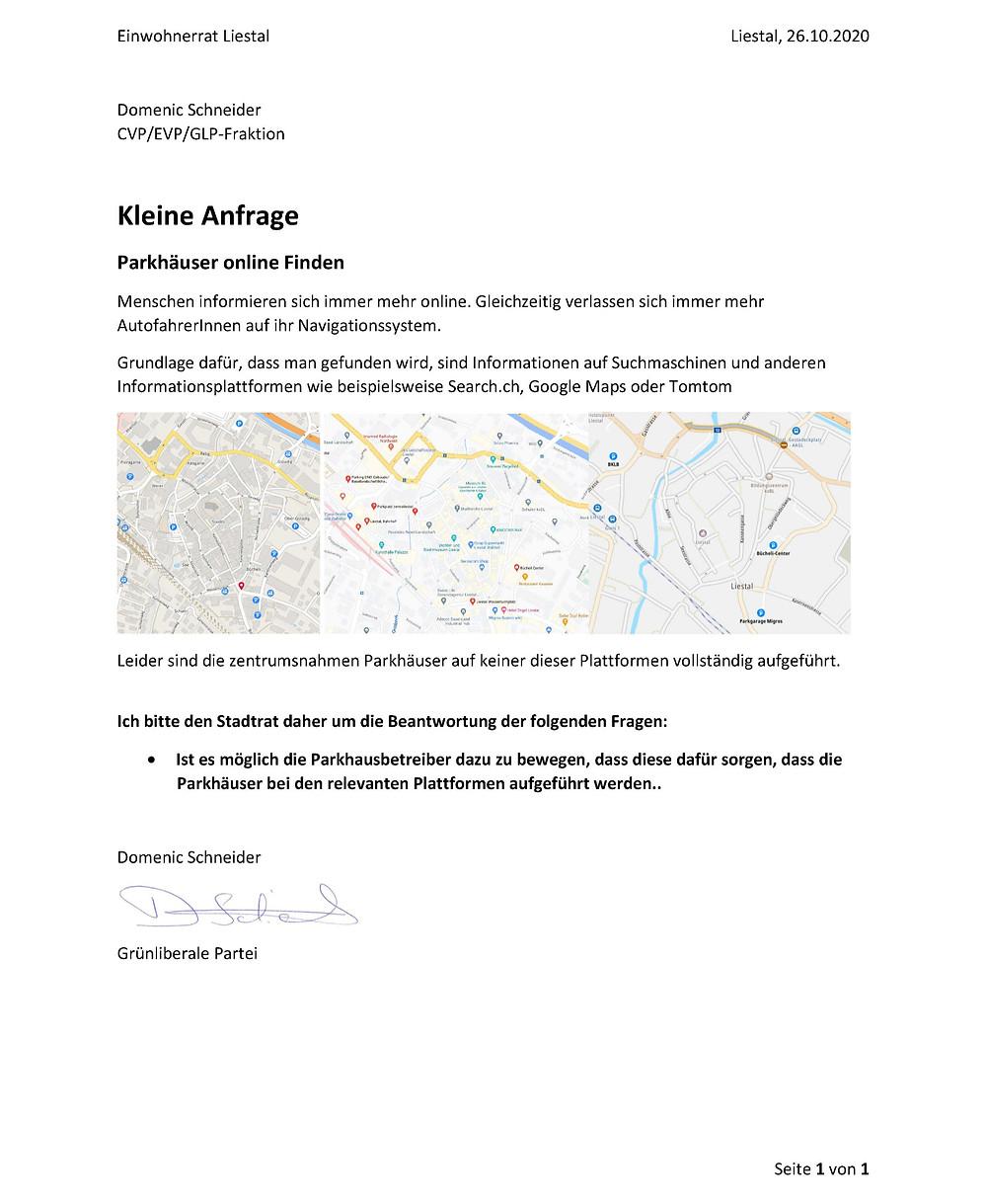 Kleine Anfrage; Parkhäuser online finden von Domenic Schneider