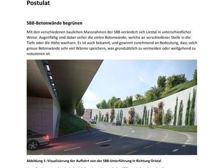 Vorstoss zur Begünung der SBB-Betonwände im Wiedenhub und weiteren Standorten in Liestal