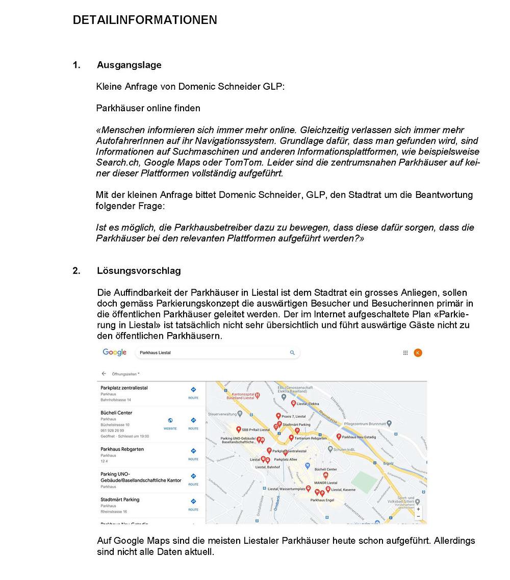 """Kleine Anfrage """"Parkhäuser online finden"""" von Domenic Schneider der glp, S.2"""