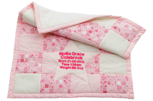 My first patchwork quilt pink personalised baby gifts newborn our gorgeous handcrafted patchwork quilts are personalised with your babys name date of birth time of birth and birth weight negle Image collections