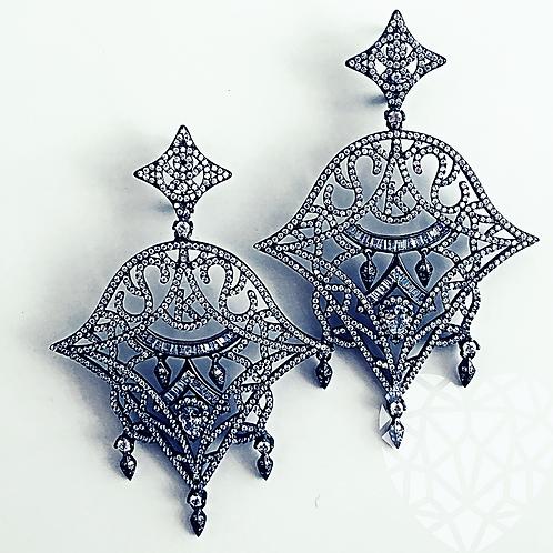 K Chandalier Earrings-Black