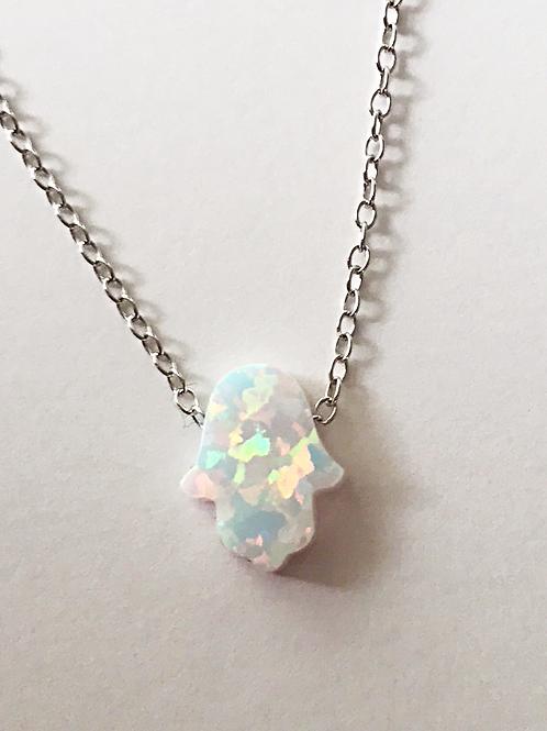 Medium Opal Hamsa Necklace White