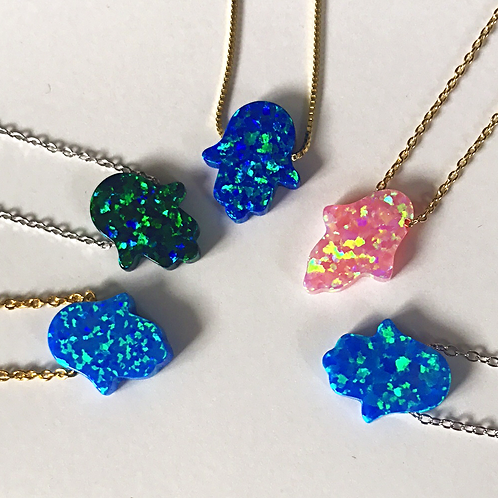 Large Opal Hamsa Necklace