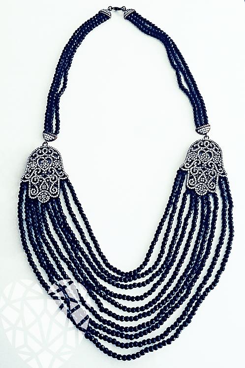 Double Hamsa Gemstone Necklace