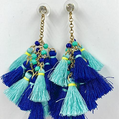Fringe Dangle Earrings-Blue