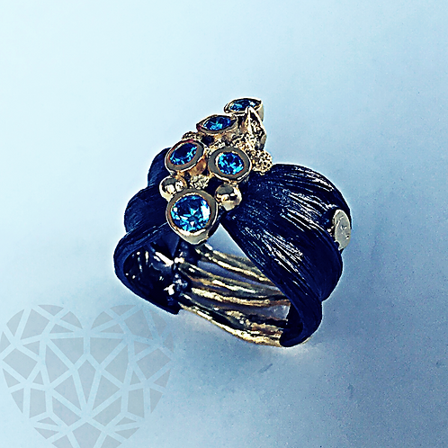Tree Of Life Collection: Blue Pebble Ring