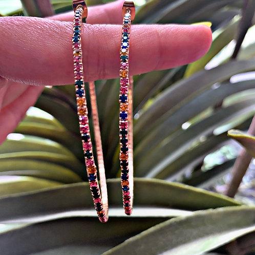 Mindi Rainbow Large Hoop Earrings