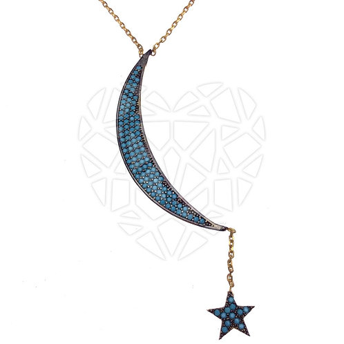 The Star and The Moon Necklace-Blue