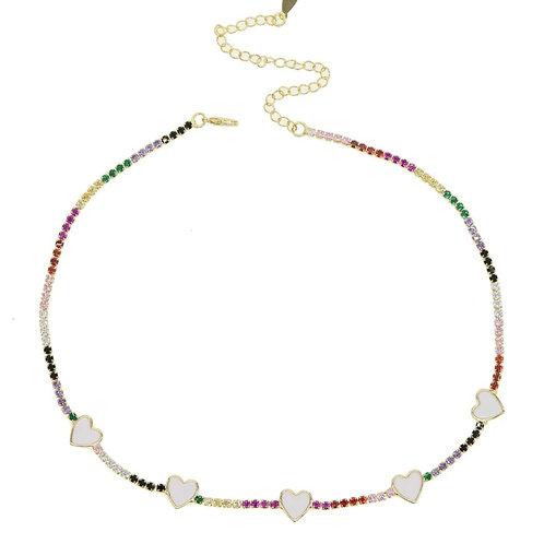 Mikayla Rainbow Heart Necklace