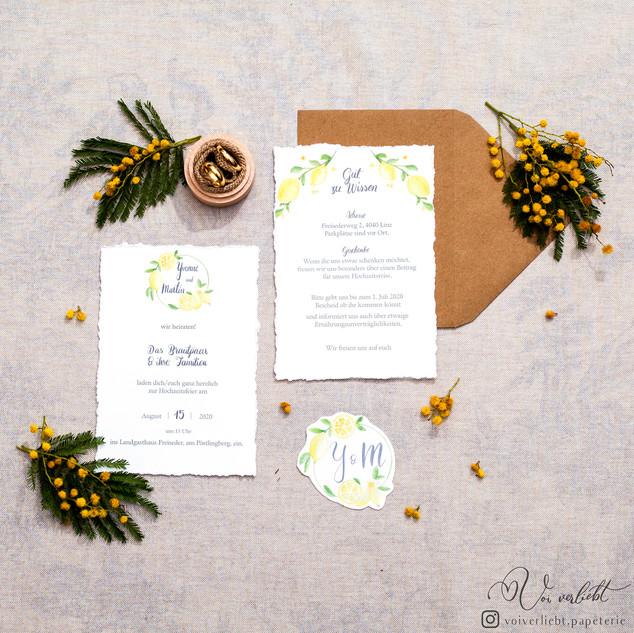 Zitrusverliebt Voiverliebt Papeterie EInladung Hochzeit Zitrone Bütten