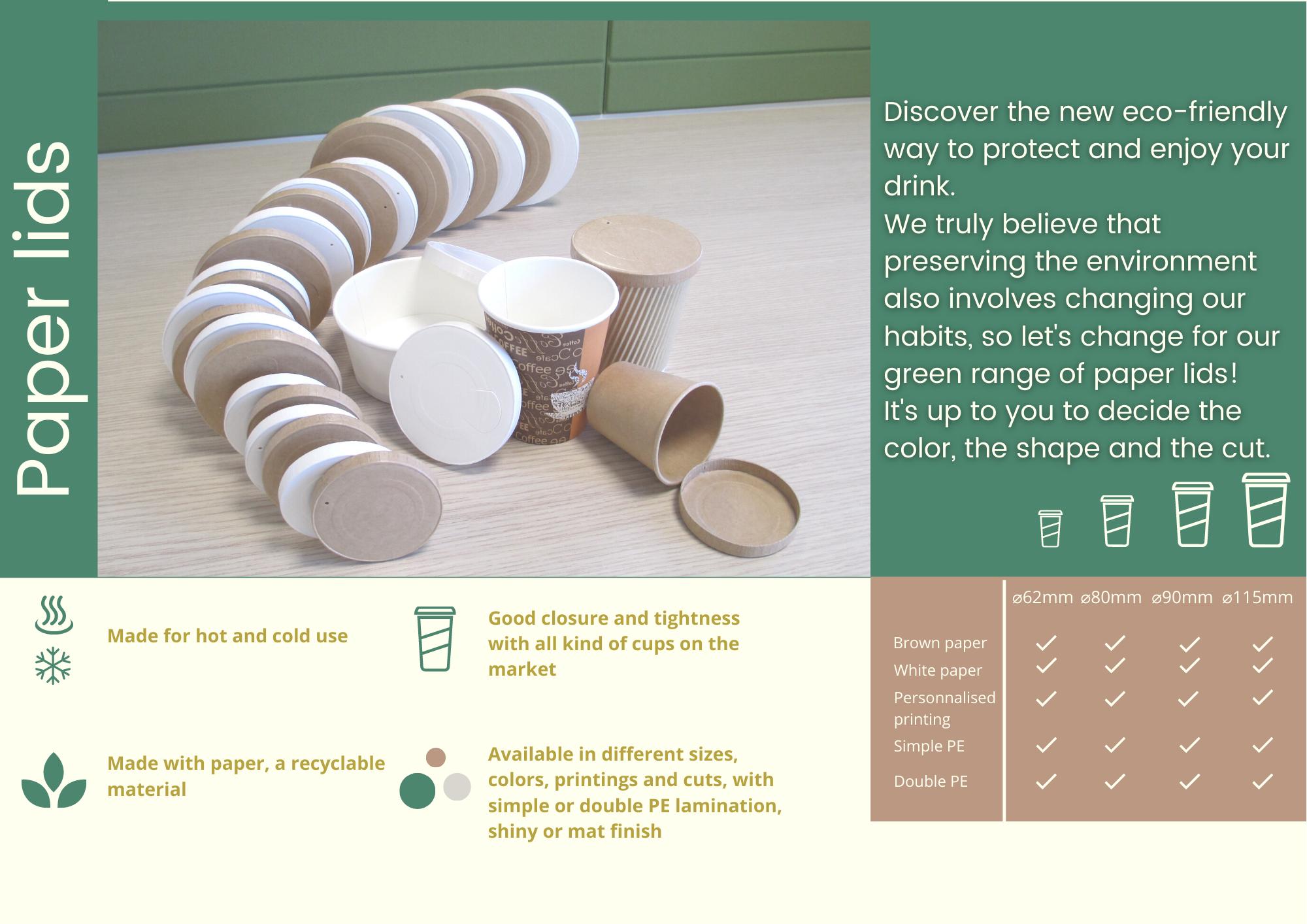 Couvercles en papier pour gobelets