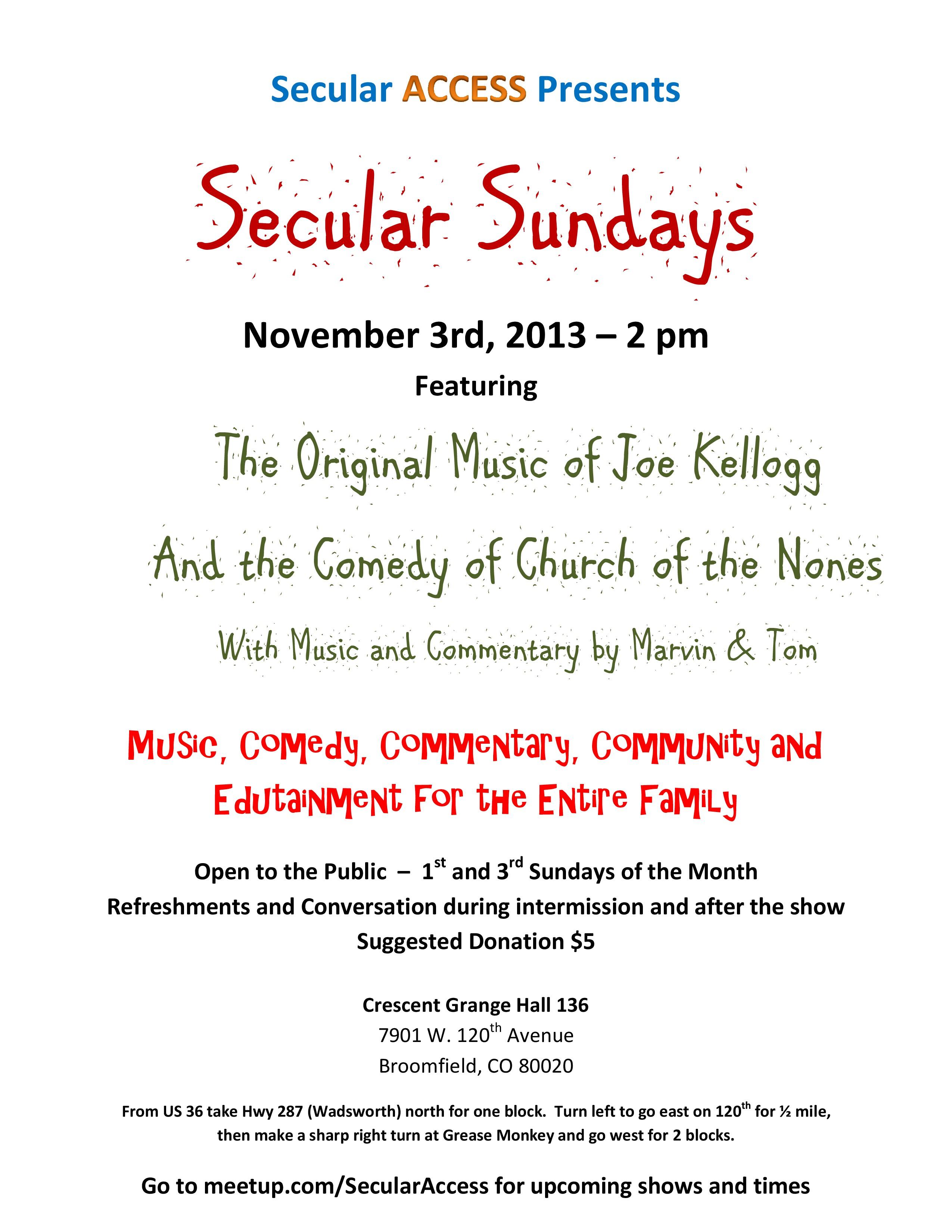 Secular ACCESS Presents 11-3-13