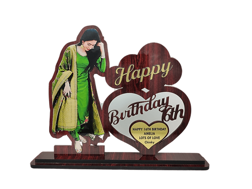 """SMC Customizable Wooden cutout Photo Frame 8"""" X 10"""" Plaque for Birthday, Anniver"""