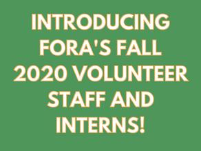 Introducing FORA's Fall 2020 Volunteer Staff