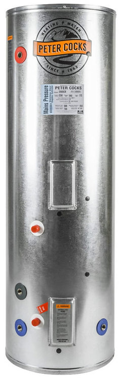 Peter Cocks 180L 3kW Mains Pressure Stainless Steel (560x1295) Hot Water Cylin