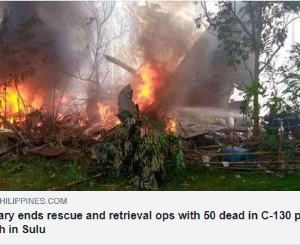 Military ends rescue and retrieval ops with 50 dead in C-130 plane crash in Sulu