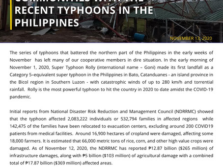 CLIMBS RESPONDS TO CALLS FOR HELP FROM COOPERATIVES AND COMMUNITIES WITH THE RECENT TYPHOONS