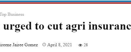 Gov't urged to cut agri insurance tax