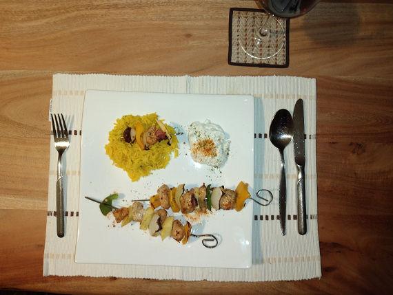 Kochrezept Kebab Spieße mit Reis und Fla