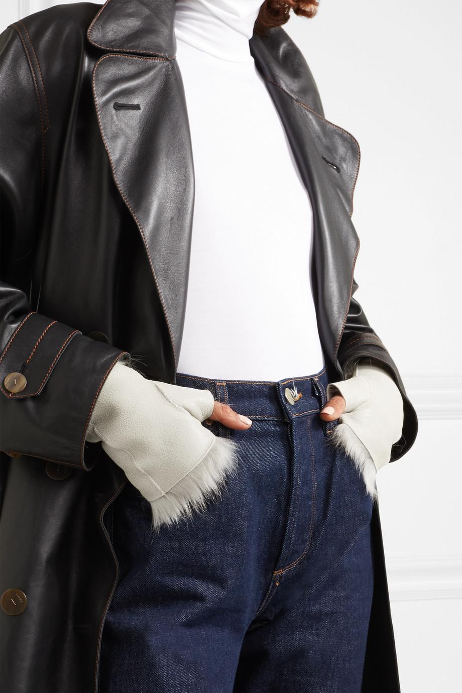 Karl Donoghue Reversible shearling fingerless gloves $210