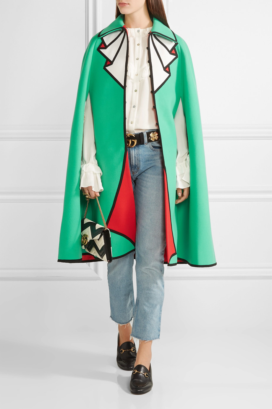 Gucci Printed wool-felt cape $3,600