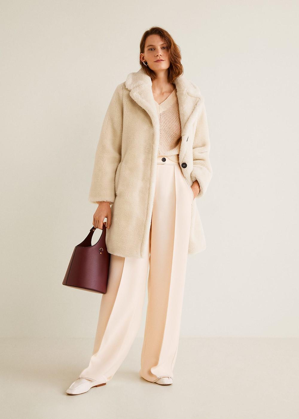 Mango Lapels faux fur coat $119.99